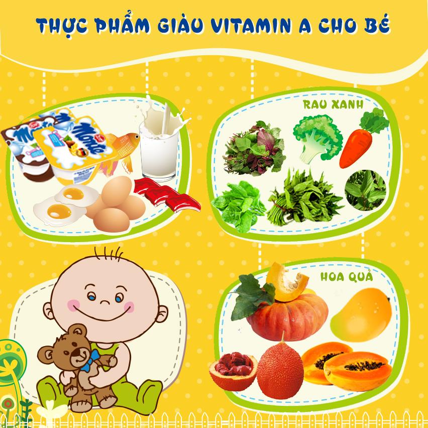 Bổ sung vitamin A trong thực đơn bữa ăn của bé